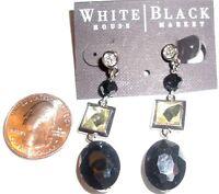 White House Black Market Pierced Earrings Raised Prism Crystal & Black Bead Drop