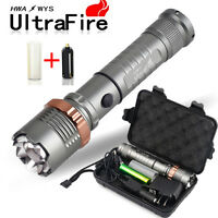 8000lm Tactical Police Swat Heavy Duty 3w Led Rechargeable Flashlight+18650+case