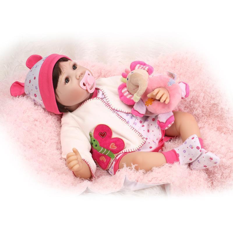 Realistica 22  BEBE RINATO Baby Girl Doll Full Body vinile in silicone Giocattolo Festa Regali