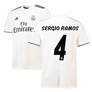 100% authentic c9c0d 1464a adidas Real Madrid 2018 - 2019 Sergio Ramos # 4 Home Soccer ...