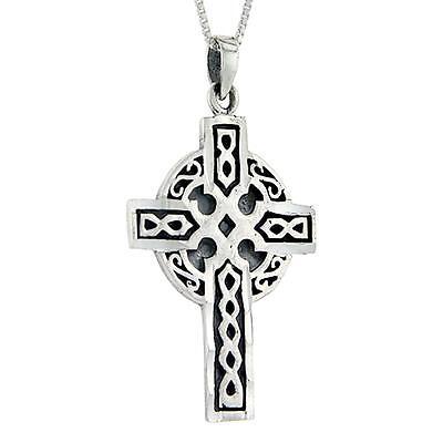 "18/"" Italian Box Chain 8.0g Sterling Silver Celtic High Cross Pendant"