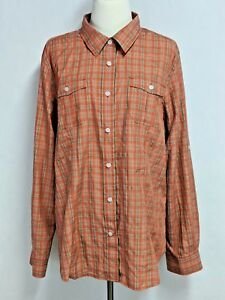 Duluth-Trading-Co-Womens-sz-XL-Orange-Brown-Striped-Vented-Hiking-Fishing-Top