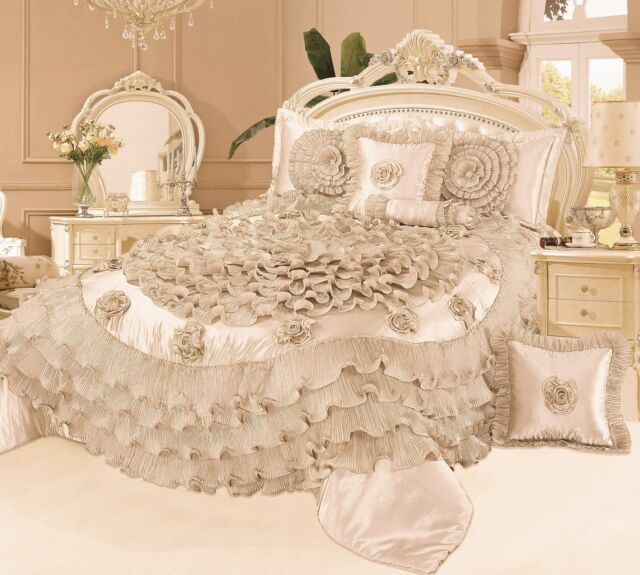 Tache 6 PC Frosted Fields Field in Beige Cream Ruffled Satin Quilt Comforter Set
