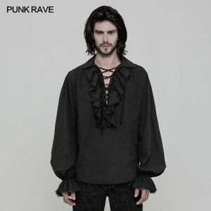 Punk-Rave-Steampunk-Gothic-Black-Fashion-victorian-Mens-T-Shirt-Top-clothing