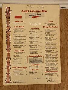 """VINTAGE RESTARAUNT MENU 1975- """" Kings Luncheon Menu"""" 17 1/2"""""""