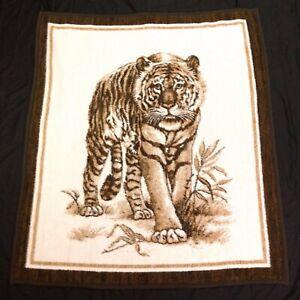 Biederlack-Walking-Tiger-Fleece-Throw-Blanket-Brown-47-034-x-54-034-Rare-Design