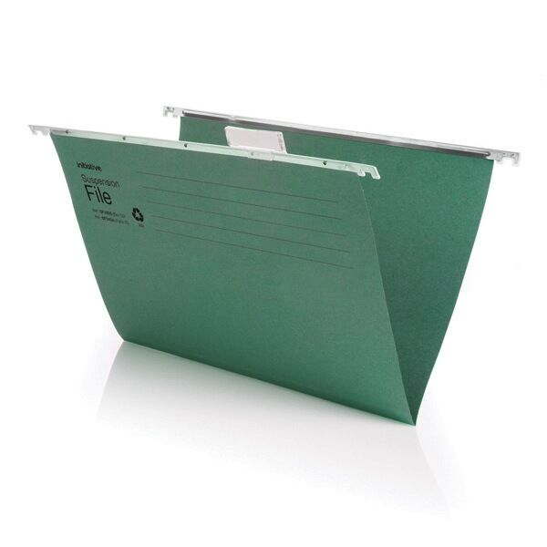 GREEN A4 SUSPENSION FILES WITH PLASTIC TABS AND INSERTS - 10,50 OR 100