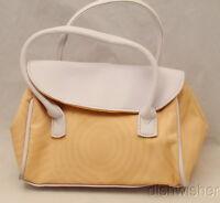 Estee Lauder Peach (lt Orange) & White Faux Leather Handbag Purse Makeup Bag