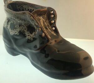 Vintage Brown China Boot Shoe Ornament Plant Holder Ebay