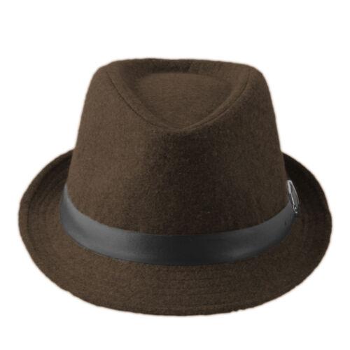 Kids Children Boys Girls Flat Top Wool Felt Fedora Jazz Hats Caps with Belt