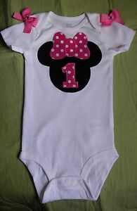 edce4e2c0 MINNIE MOUSE 1st BIRTHDAY bodysuit - Sizes 12M, 18M, 24M ~ CAN BE ...