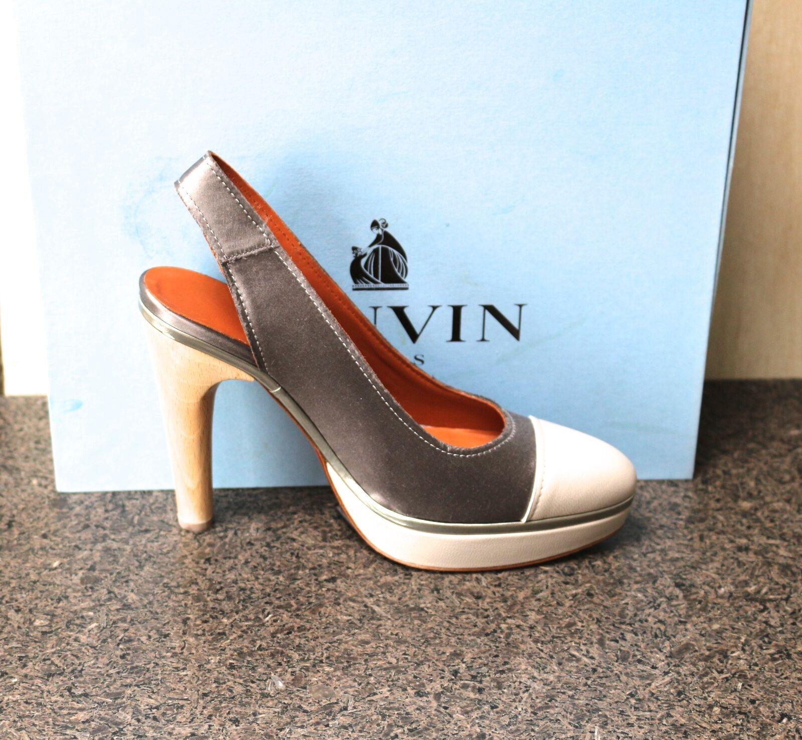 in vendita scontato del 70% NIB Authentic LANVIN grigio Platform Cap Toe Toe Toe Satin Slingback Pumps scarpe Clogs 39  prima i clienti