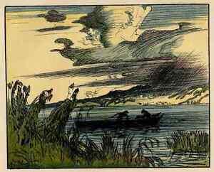 WILDE-SEENLANDSCHAFT-mit-BOOT-Edmund-STEPPES-1910-Jugendstil-Zinkaetzung