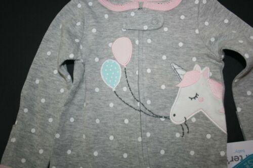 New Carter/'s Girls NB 3m 6m 9m Sleep n Play PJs Unicorn w Balloons 2 Way Zipper