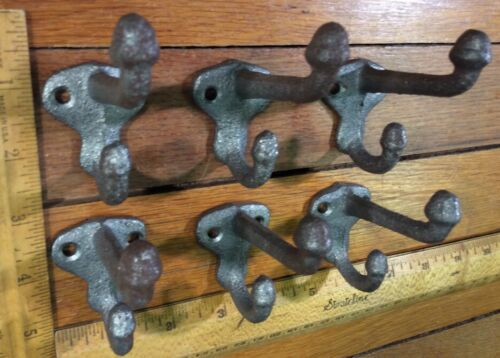 6 COAT HOOK Cast Iron Rustic unfinish Antique Vintage Style Wall Hat Rack School