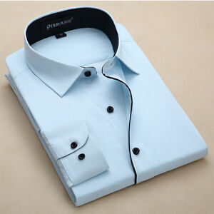 Men-039-s-Dress-Shirts-Long-Sleeve-Formal-Slim-Casual-Business-Work-Camisas-XT6301