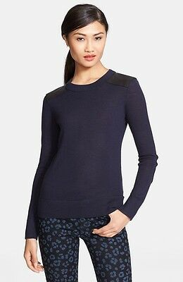 NEW Kate Spade 'genni' leather trim wool sweater- Navy, black M $298