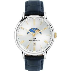 Orologio-Uomo-PHILIP-WATCH-TRUMAN-R8251595001-Pelle-Blu-Silver-Gold-SWISS-MADE
