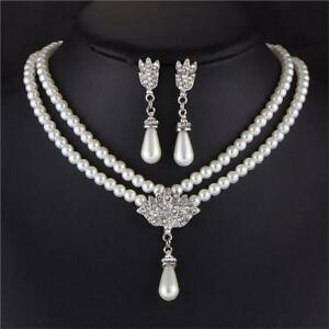 Image Is Loading Freshwater Pearl White Drop Necklace Earrings Set
