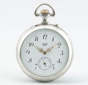 Seltene-Jugendstil-Silber-Taschenuhr-mit-Wecker-Parrenin-amp-Faivre-Schweiz-1900