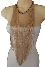 Women Necklace Rose Gold Peach Extra Long Fringe Fashion Jewelry Statement Piece
