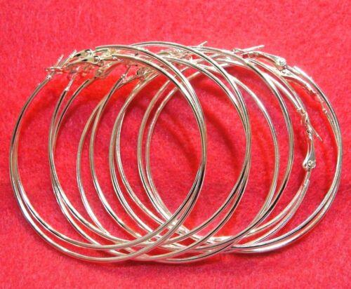 "10Pcs Silver-Plated 60mm 2 3//8/"" Earring HOOPS Earwires Tibetan Findings EH02"