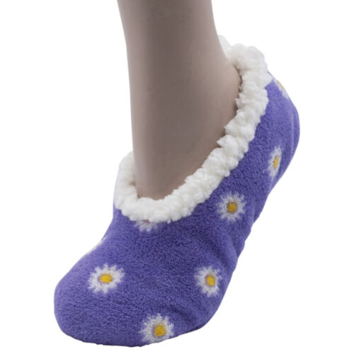 Ladies Ballerina Sherpa Lined  Lounge Slippers Socks with Gripper Sole size 4-7