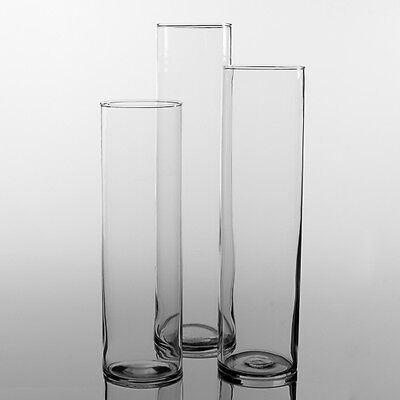 "Eastland Tall Cylinder Glass Vases 13"" 15"" & 17"" Set of 3 Wedding Centerpiece"