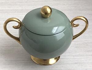 Beautiful FLINTRIDGE CHINA SYLVAN Sage Green Gold Trimmed Lidded Sugar Bowl EUC