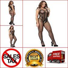 bcb5b8bd975 Deksias fishnet bodystocking plus size Crotchless Bodysuit Lingerie for  Women