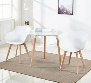 Details About Scandinavian Round Dining Table And 2 Chairs Retro Dining Set For Kitchen Living