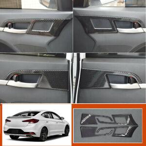 Carbon Fiber Auto Interior Door Handle Cover Trim For Hyundai Elantra 2017 2020 Ebay