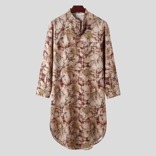Men Floral Pajamas Dress Lightweight Nightwear Sleepwear Kaftan Tunic Robes Top