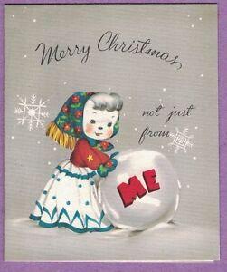 Unique Christmas Cards.Details About Vintage Unique Christmas Card Mrs Snowman In Front Large Snowball