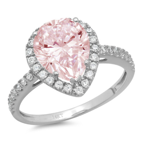 2.45 ct Pear Cut Halo Pink Stone Promise Bridal Wedding Ring 14k White Gold