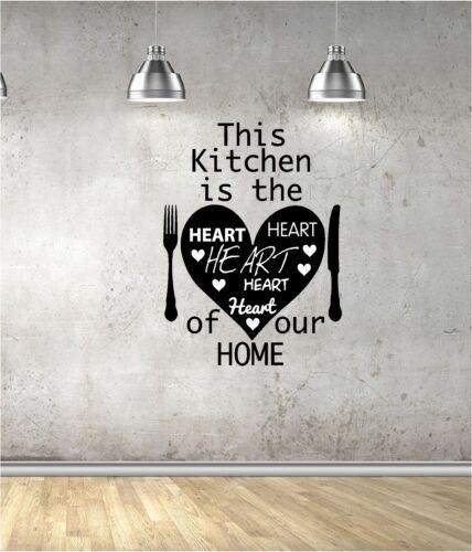 Vinilo Pared Arte Citar Pegatina Amor Corazón Tenedor Cuchillo de cocina casera Esta cocina.