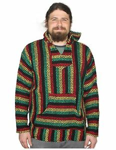 Mexican Baja Knit Pullover Hoodie Drug Rug Beach Wear - 12 Color ...