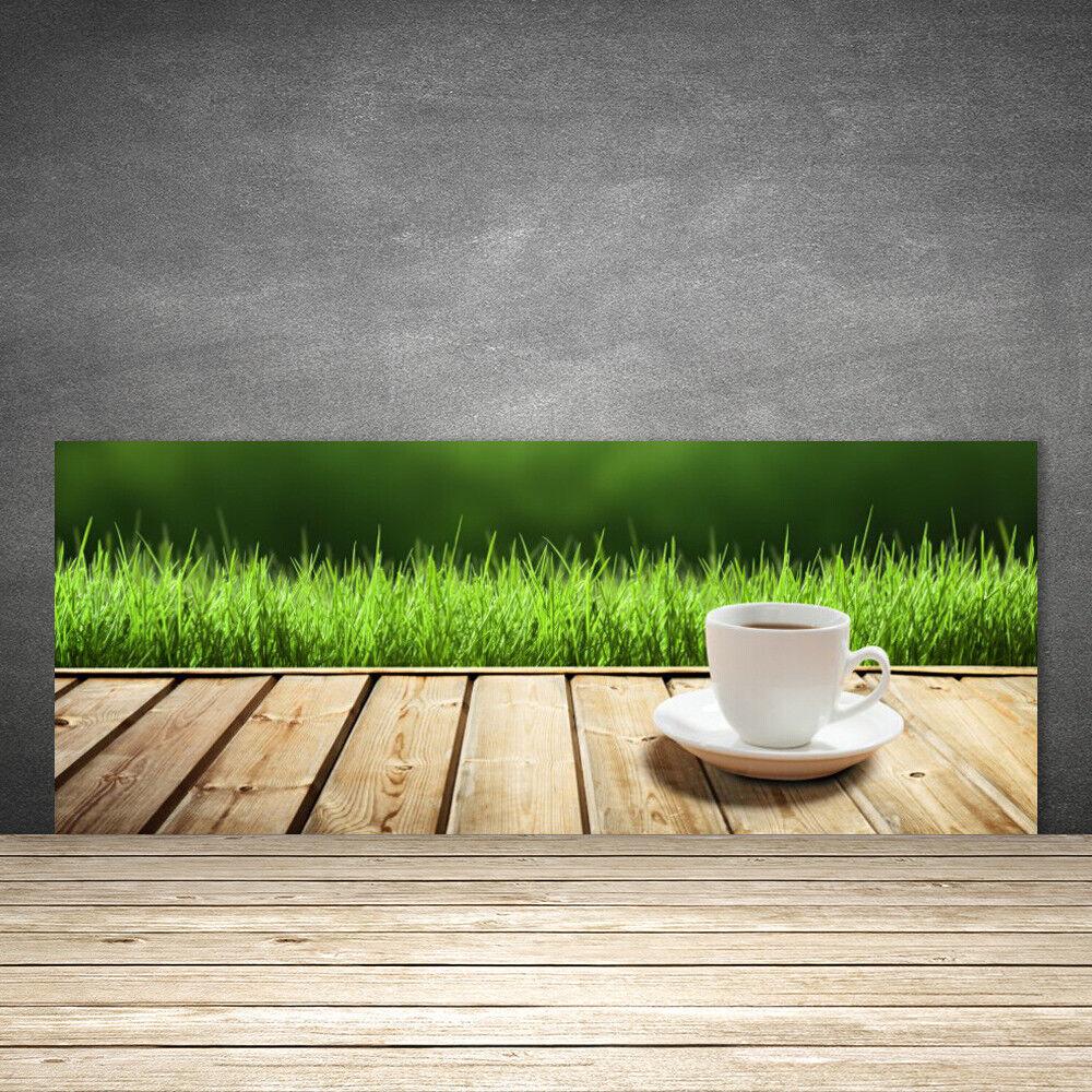 Crédence de cuisine en verre Panneau 125x50 Nature Herbe Tasse