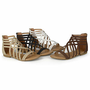 d919134b187 Brinley Co Womens Standard and Wide Width Strappy Gladiator Flat ...