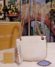 NWT MICHAEL KORS Whipped Chelsea SMALL Messenger Shoulder Bag OPTIC WHITE $278