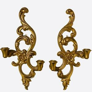 Vintage-Hollywood-Regency-Syroco-Gold-Wall-Double-Sconces-Candle-Holders