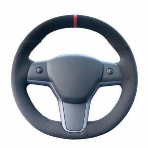 DIY Black Suede Steering Wheel Hand-stitch on Wrap Cover For Tesla Model 3 Y