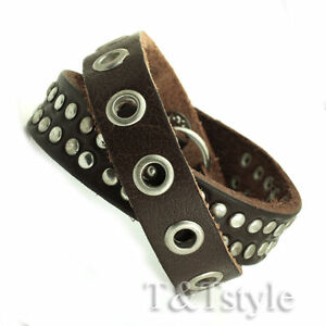 TRENDY-T-amp-T-BROWN-Leather-Bracelet-Wristband-NEW