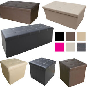 Image Is Loading LARGE OTTOMAN FAUX LEATHER STOOL FOLDING SEAT CHEST