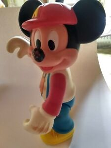 Vintage-Walt-Disney-Mickey-Mouse-Baseball-Player-Poseable-12-034-Rubber-EUC