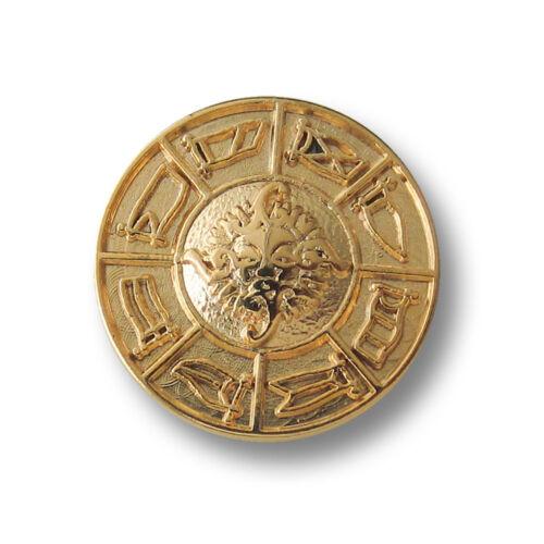 5 noble goldfb 1189go-23mm motif métal boutons avec soleil visage /& DRAPEAUX