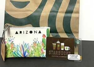 NEW Starbucks Arizona 2019 Card Pouch Keychain Cactus Full Zip Coin Purse White