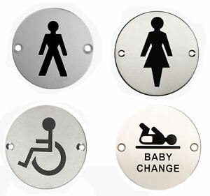 3 stainless steel wc toilet door signs symbol male female disabled baby change ebay for Stainless steel bathroom signs