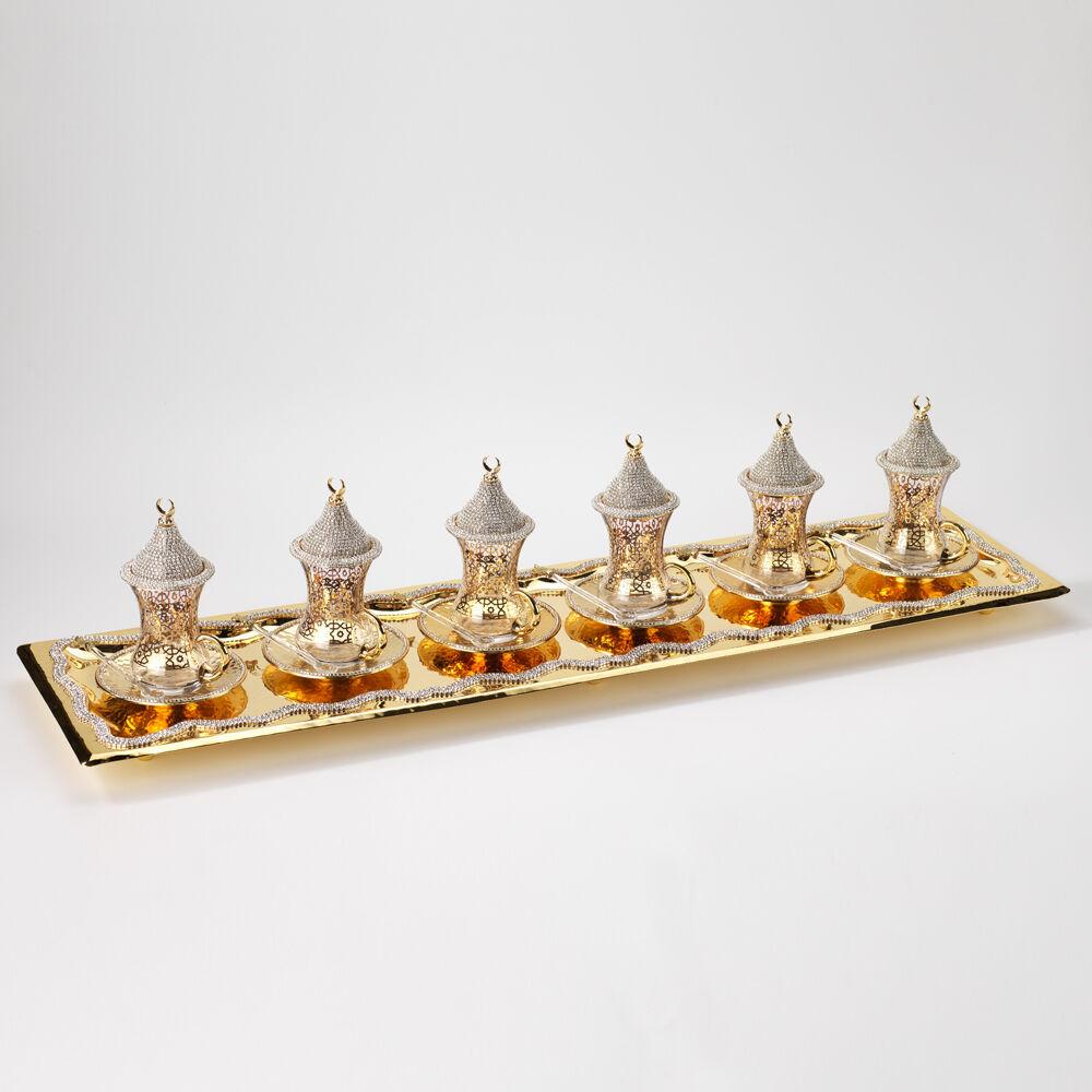 Handmade Copper Turkish Tea Zamzam Serving Set Swarovski Coated Gold Farbe