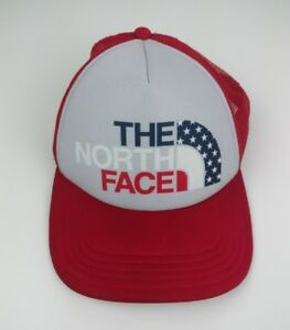 THE NORTH FACE Women s USA Snapback Trucker Hat Cap Red White Blue ... e0d949f041
